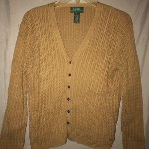 Ralph Lauren Tan Button Up Cardigan Sweater
